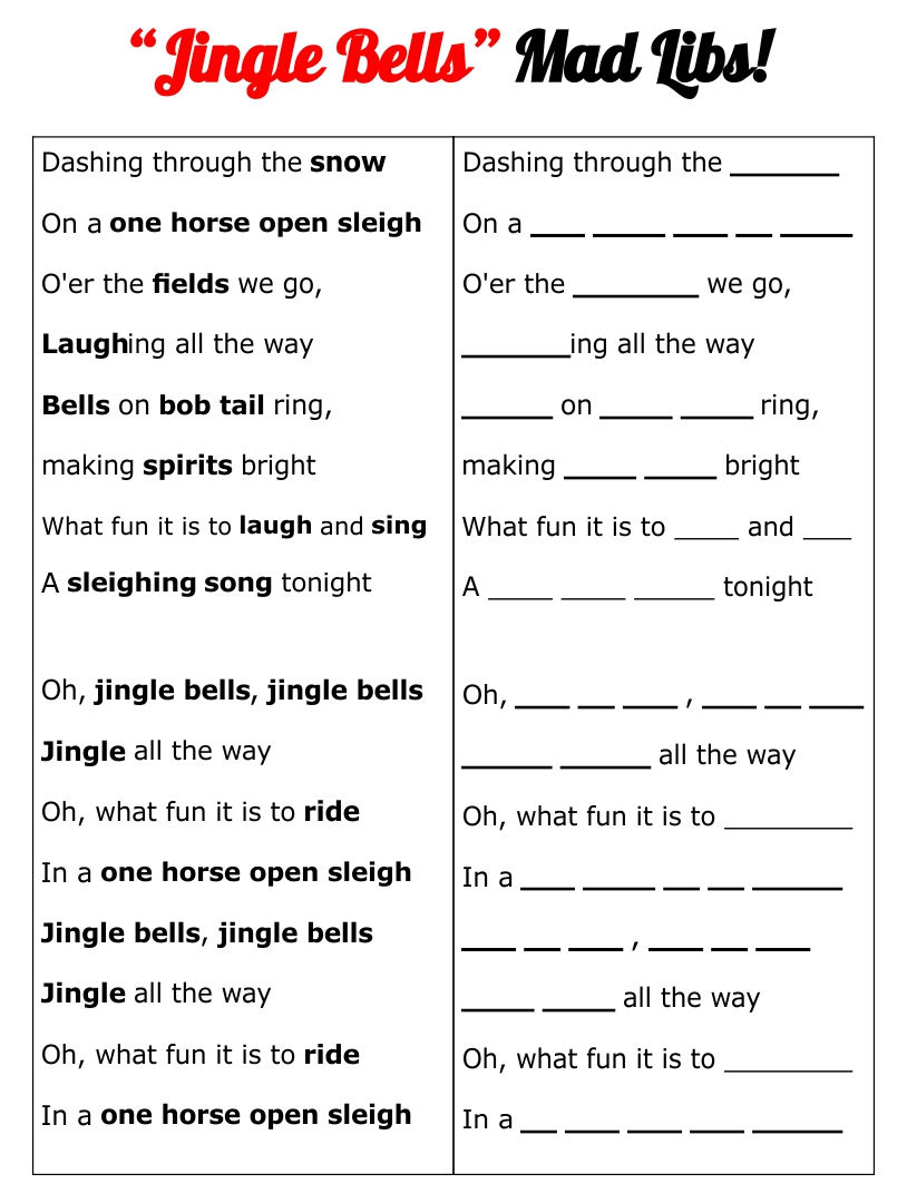 Christmas Carol Mad Libs Printable