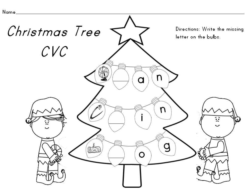 Christmas CVC Word Worksheets