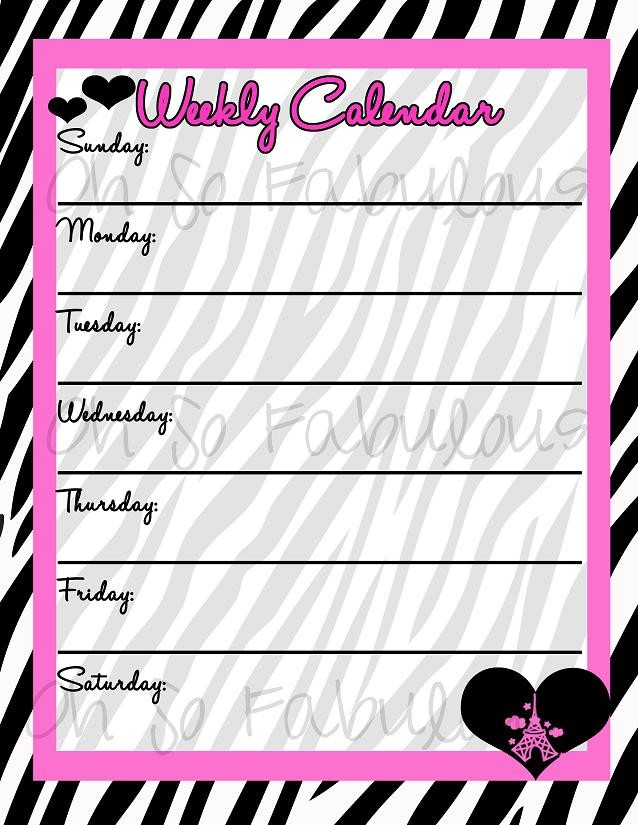 7 Images of Cute Printable Weekly Planner Calendars