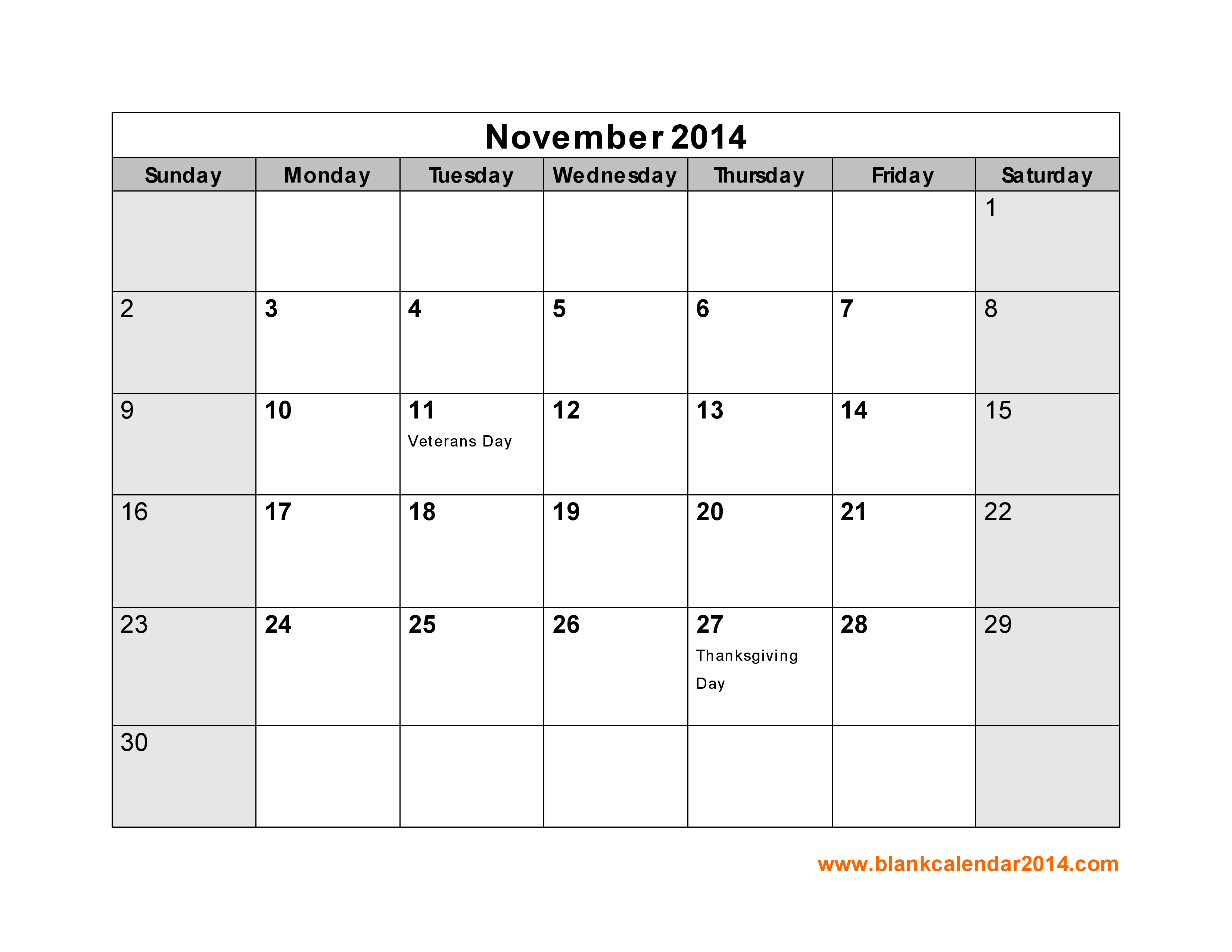 6 Images of Blank November 2014 Calendar Printable
