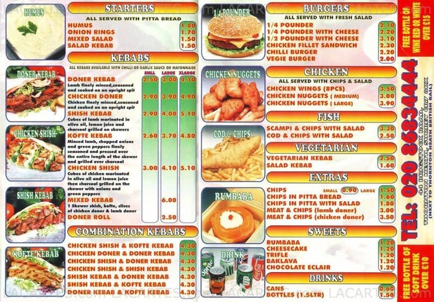 5 Images of Printable Fast Food Menus