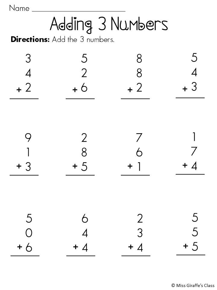 Printables Adding Three Numbers Worksheets adding 3 numbers worksheets davezan worksheet 2nd grade scalien