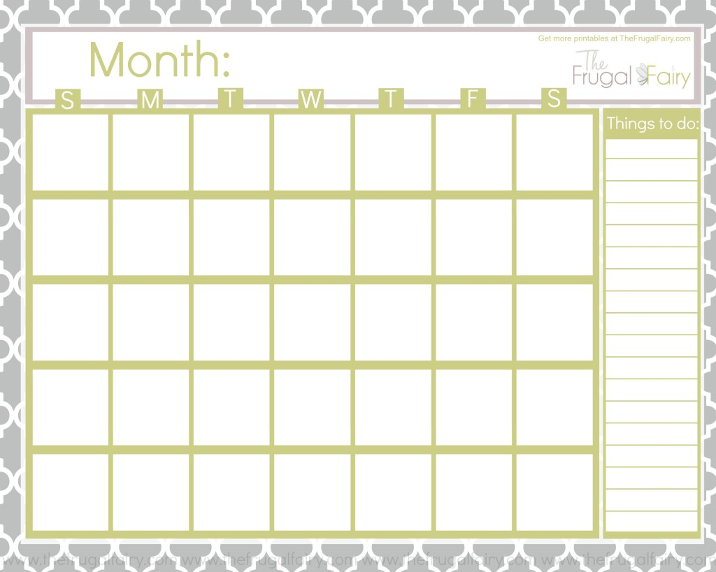5 Images of Free Printable Blank Calendar Pages