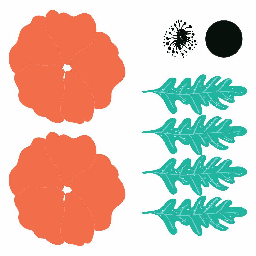 Poppy Paper Flower Templates