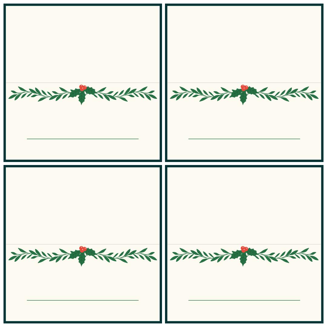 Printable Christmas Name Cards
