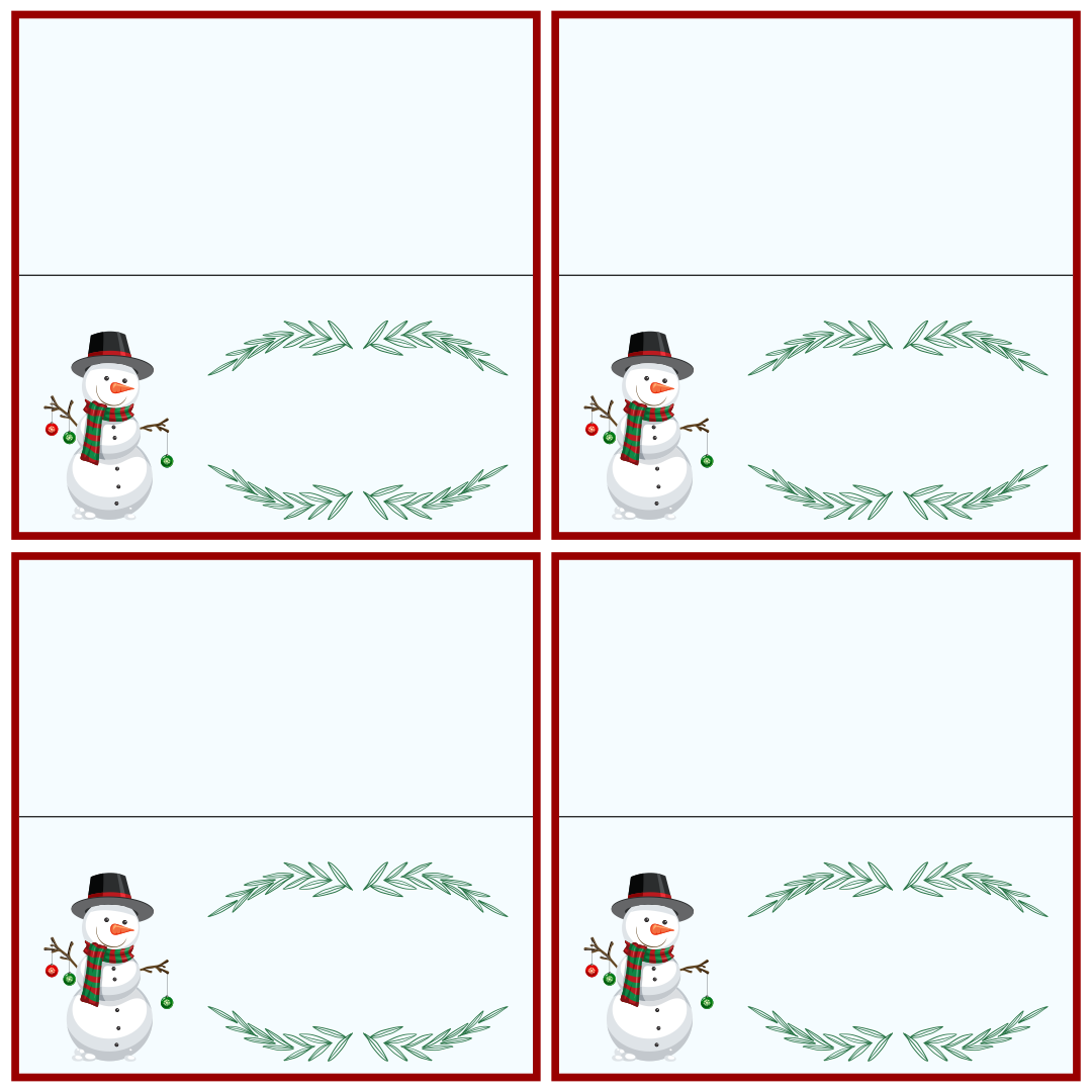 Printable Christmas Place Cards Template
