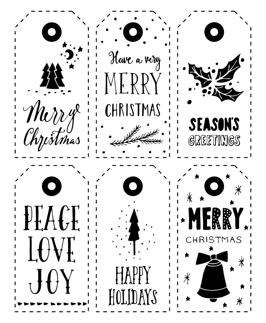 6 Images of Black And White Printable Christmas Gift Tags