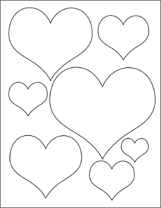 4 Images of Heart Template Printable Different Sizes