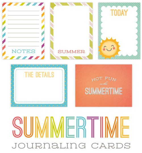 4 Images of Summer Project Life Printable Cards