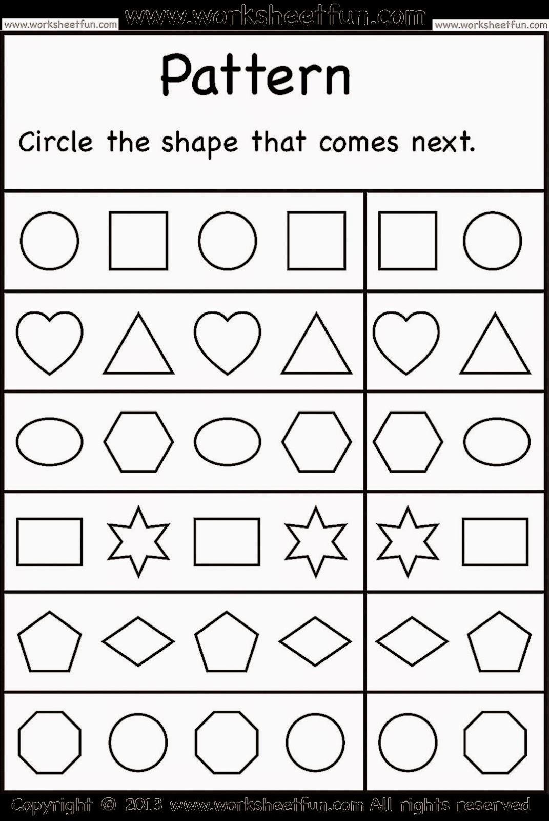 6 Images of Kindergarten Pattern Worksheets Printables