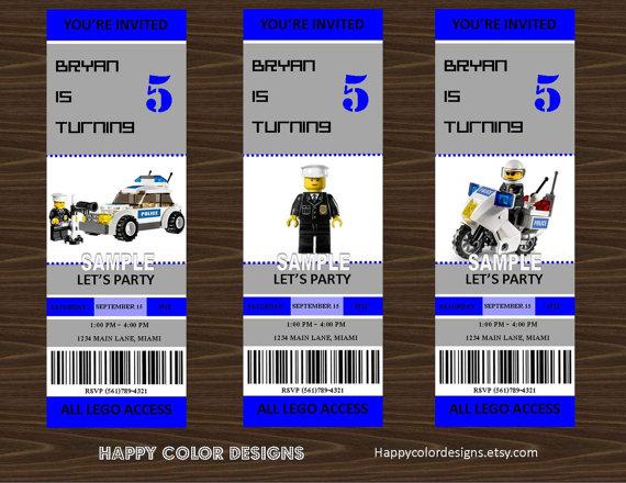 5 Images of LEGO City Birthday Invitations Printable