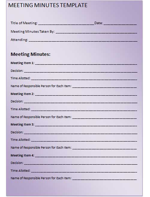 Doc429505 Meeting Minutes Form Meeting Minutes Form Corporate – Meeting Minutes Forms