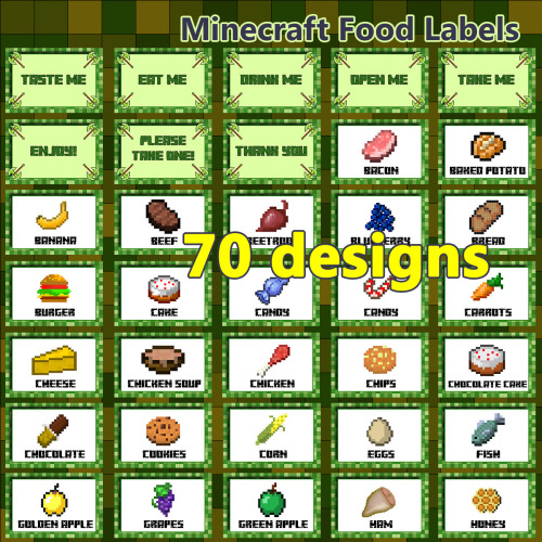 Minecraft Food Labels To Print Free