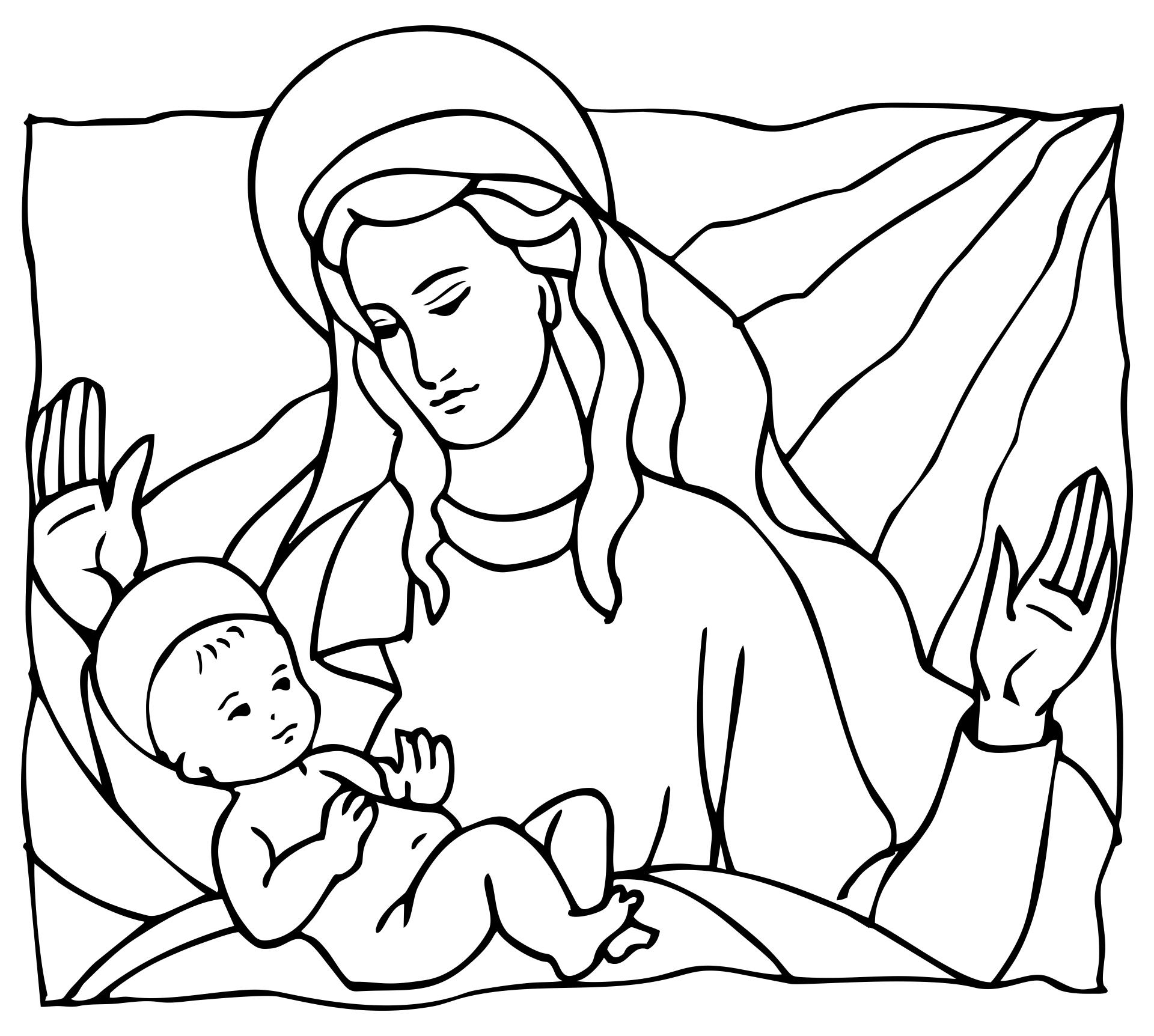 Printable Nativity Scene to Color