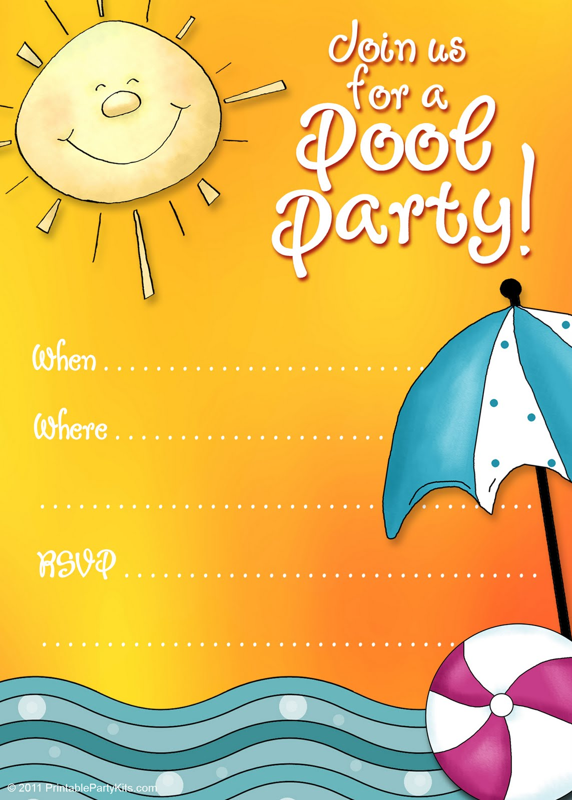 6 Images of Summer Pool Party Invitations Printable