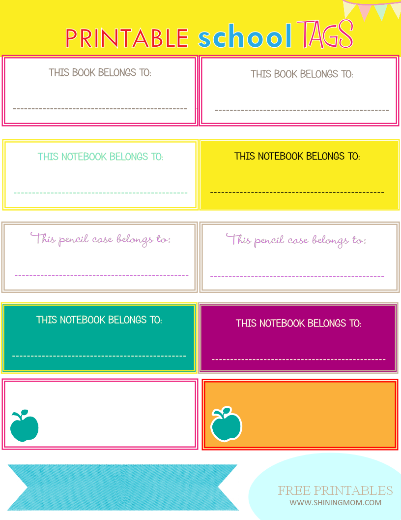 Free Printable School Book Label