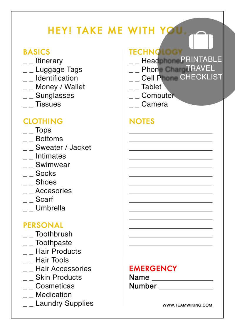 6 Best Images Of Printable Travel Packing List Checklist