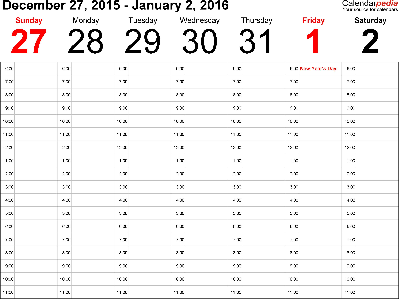 9 Images of Weekly Calendar 2016 Printable