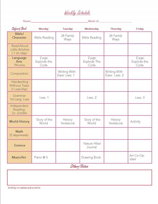 7 Best Images of Free Printable School Weekly Planner