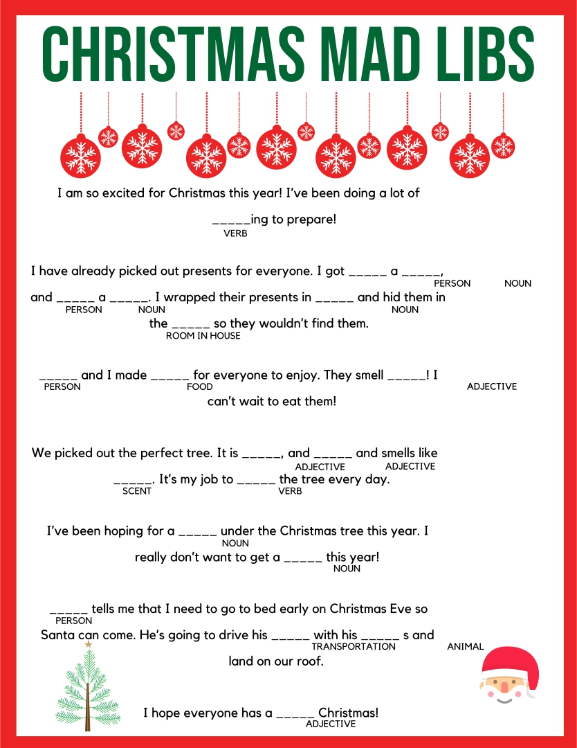 Funny Christmas Mad Libs Printable