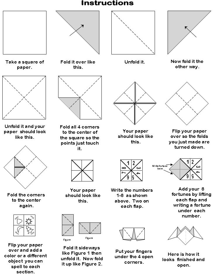 6 best images of printable origami fortune teller blank for How to make a chatterbox template