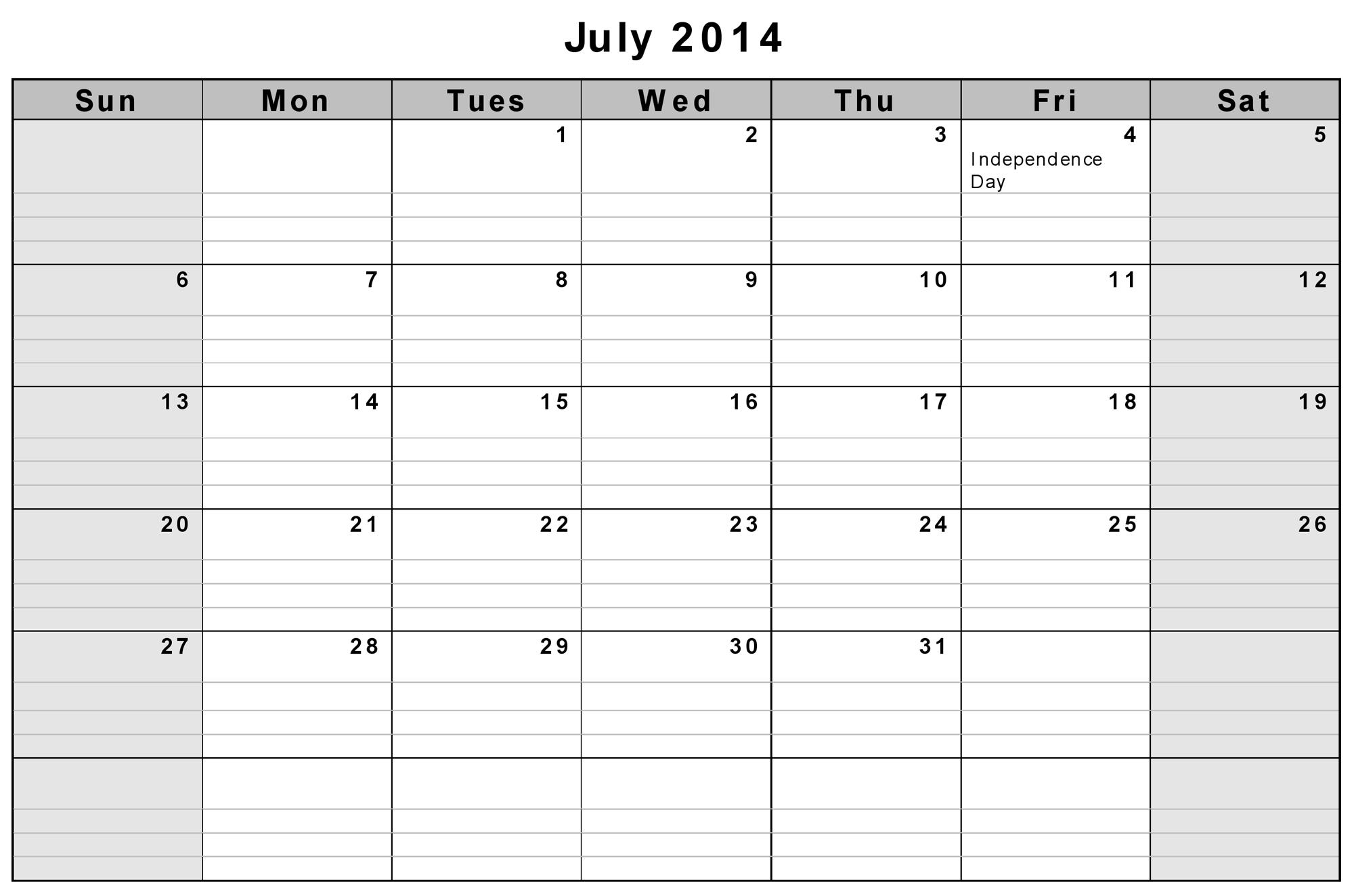 Calendar July 2014 Printable | galleryhip.com - The Hippest Galleries!
