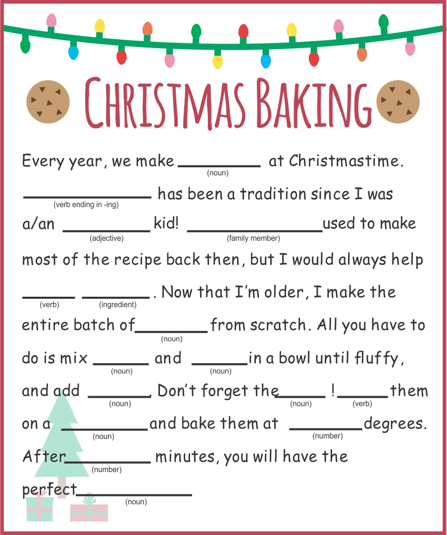 Kids Christmas Mad Libs Printable