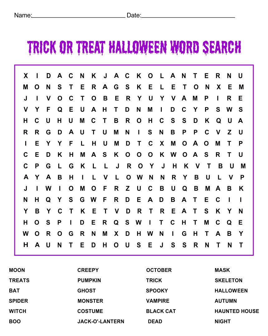 Kids Halloween Word Searches Printable