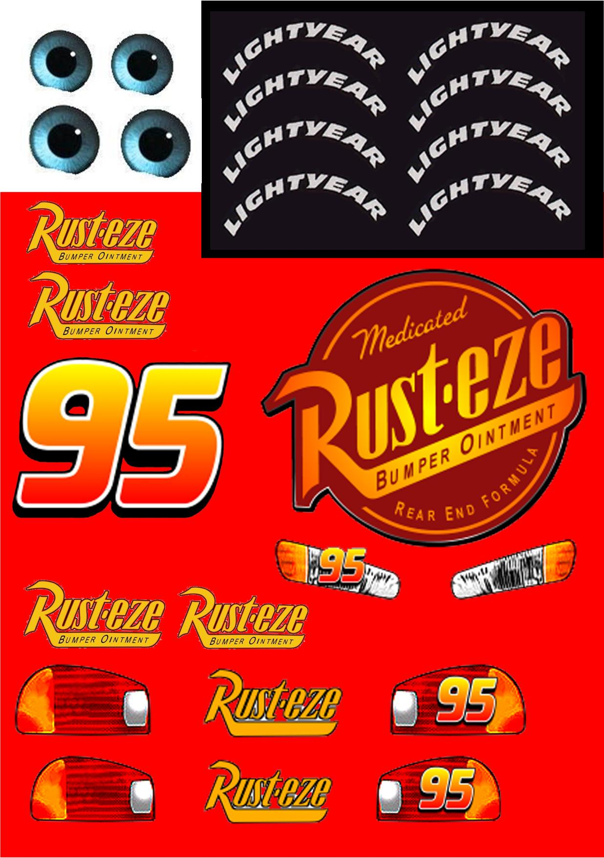 7 Images of Lightning McQueen Printable Decals