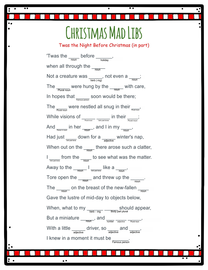 Night Before Christmas Mad Libs Printable