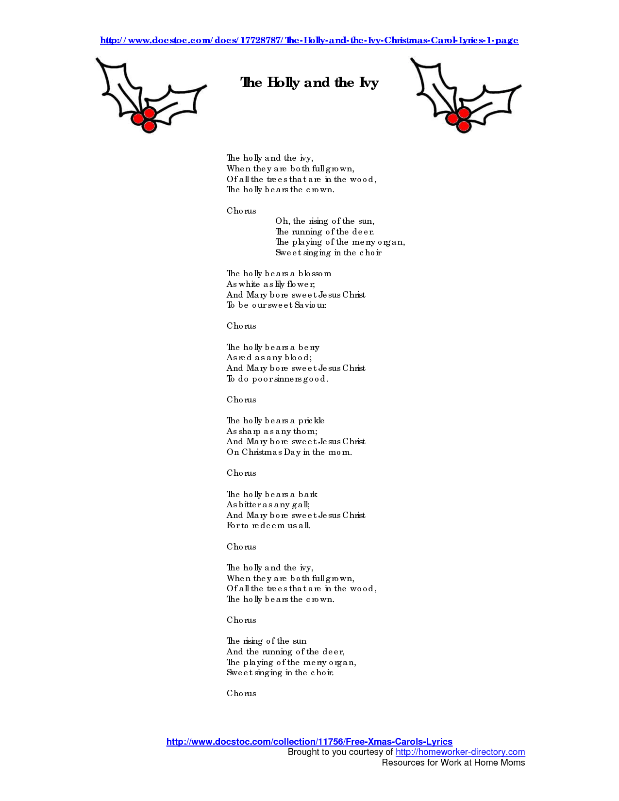 4 Images of Holly Christmas Carols Printable