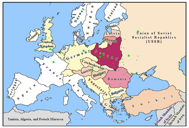 Map, Political Map Europe 1939 and Blank Outline Map Europe 1939
