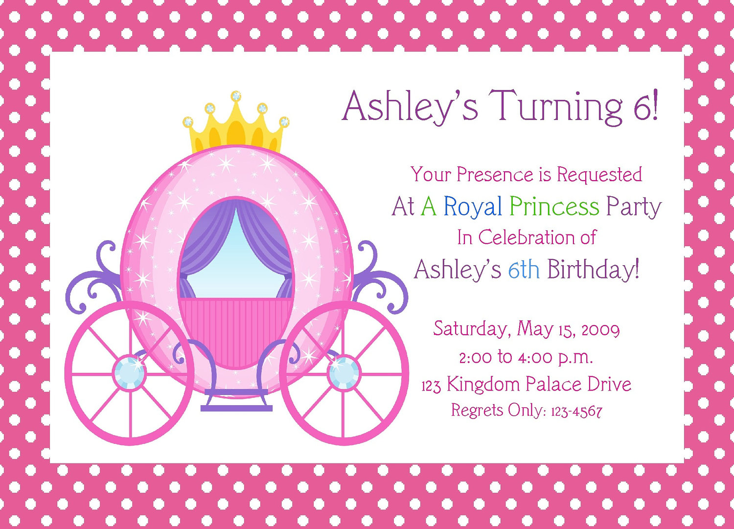 Princess Birthday Invitation Templates Printable Free