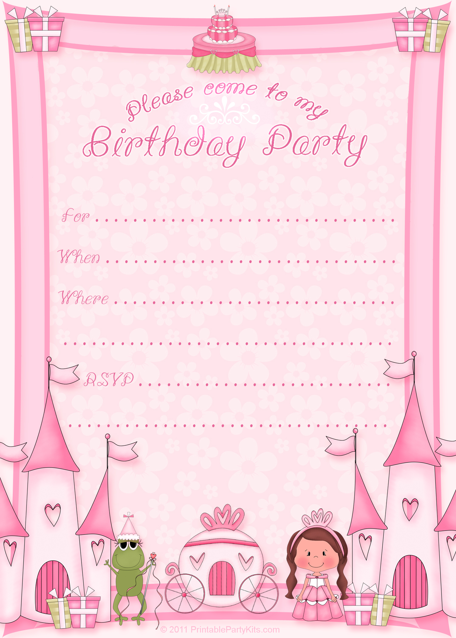 Princess Birthday Party Invitation Templates Printable