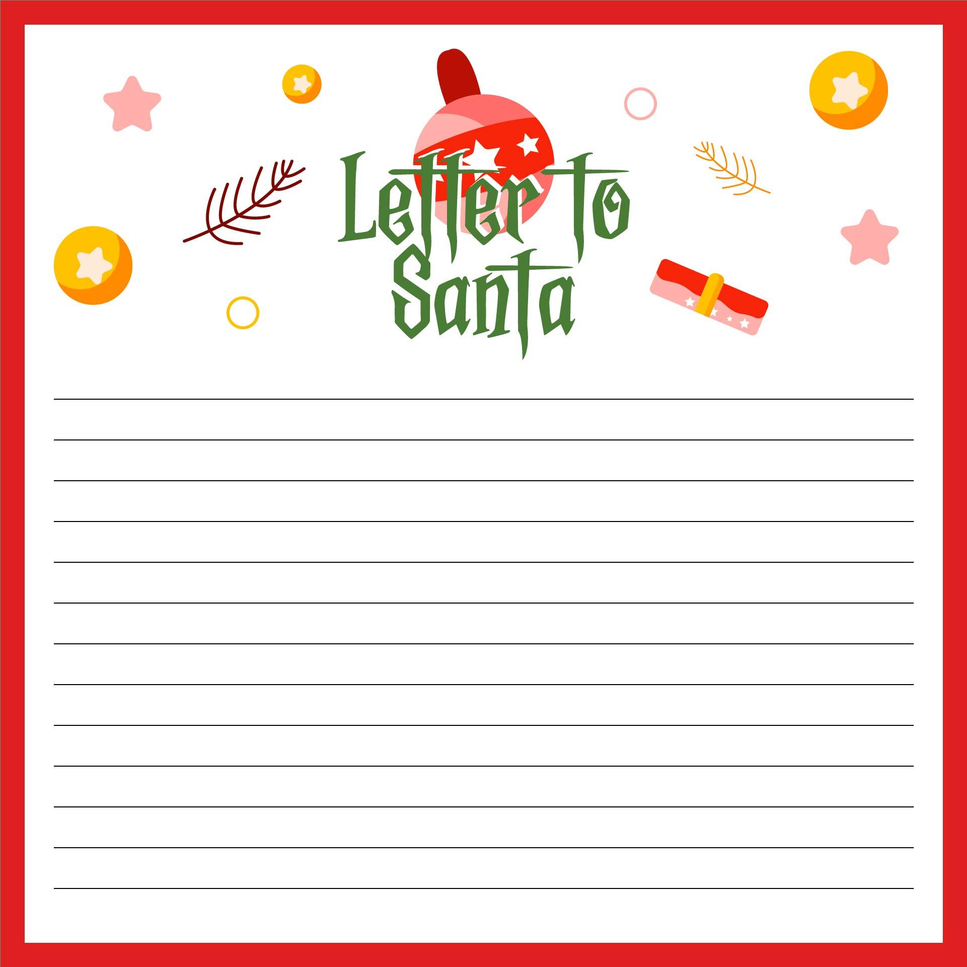 Printable Christmas Letter to Santa Templates Free