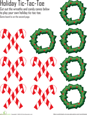4 Images of Holiday Tic Tac Toe Printable