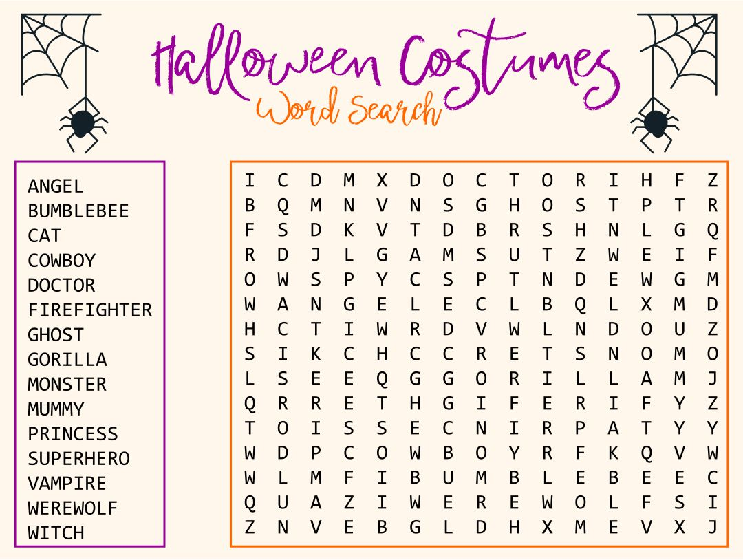 5 Images of Free Printable Halloween Word Search For Kids