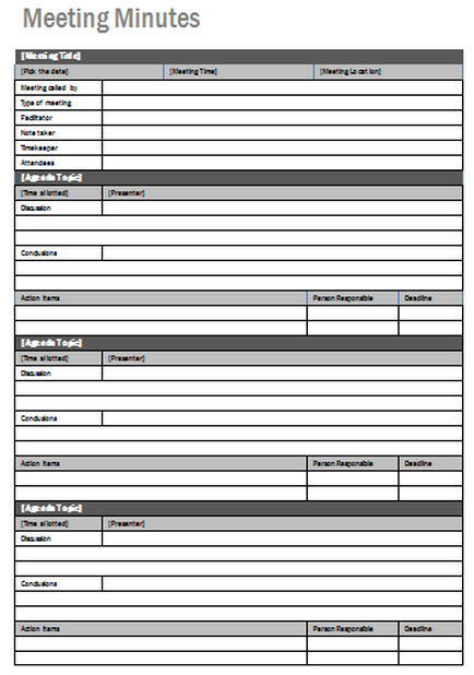 5 best images of printable meeting minutes form for How to take meeting minutes template