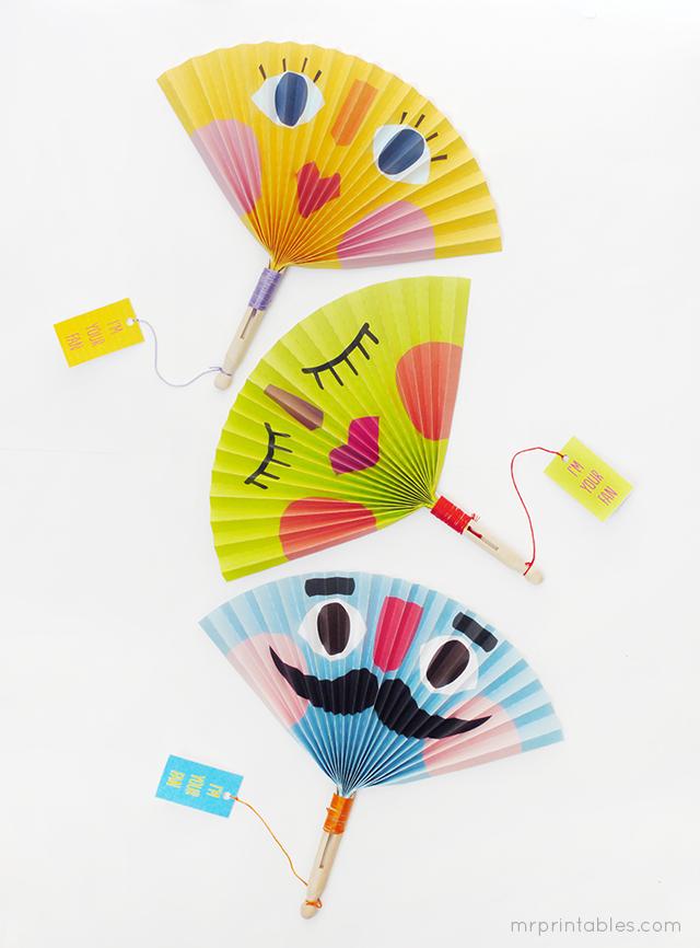 Printable Summer Paper Fans Craft