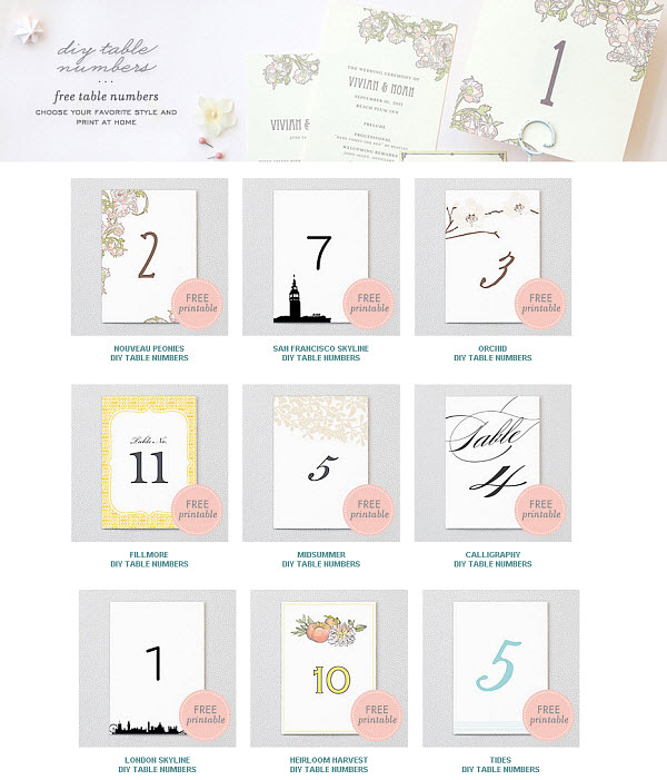 5 best images of free printable wedding table numbers for Table numbers for wedding reception templates