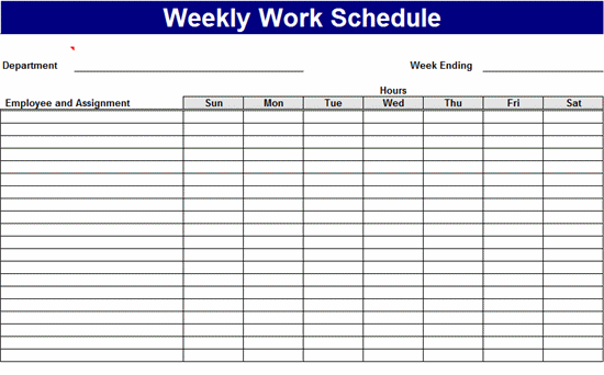 8 Images of Employee Work Schedule Template Printable