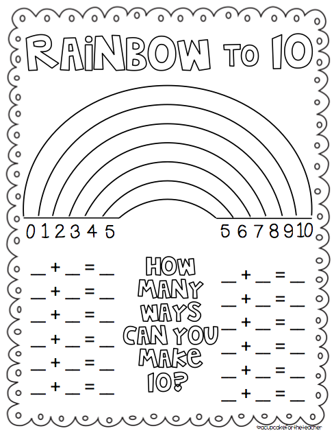 math worksheet : 7 best images of ways to make 10 worksheet printable  rainbow to  : Make A Math Worksheet