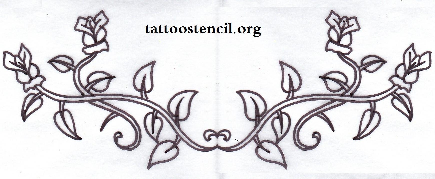 Rose Vine Tattoo Stencil Designs