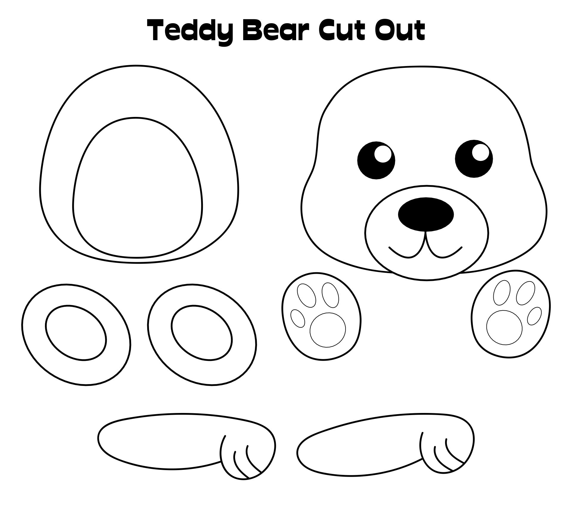 Printable Teddy Bear with Clothes craft for kids. |Teddy Bear Template