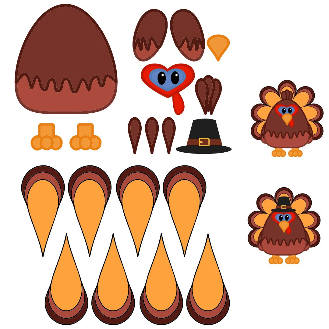 Thanksgiving Turkey Cut Out Printables