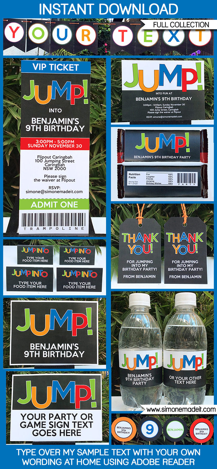 4 Images of Trampoline Thank You Favor Tag Printable