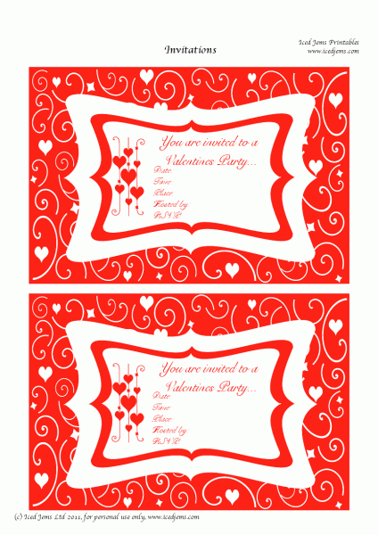 Valentine's Day Party Invitation Printable Free
