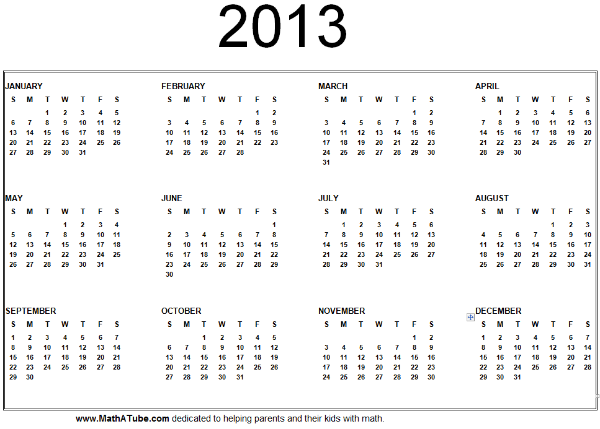 6 Images of 2013 Year Calendar Printable