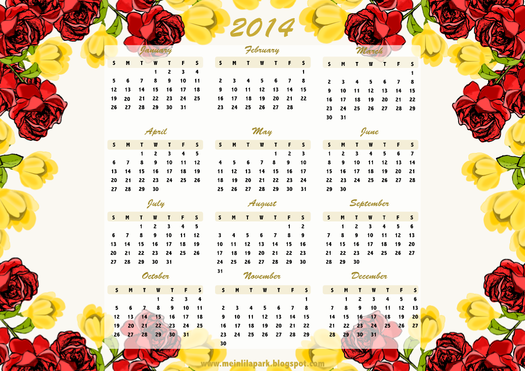 6 Images of Free Flower Calendar 2014 Printable