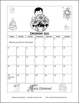2015 Calendar Printable December Coloring